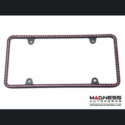 License Plate Frame - Black Frame w/ Pink Crystals